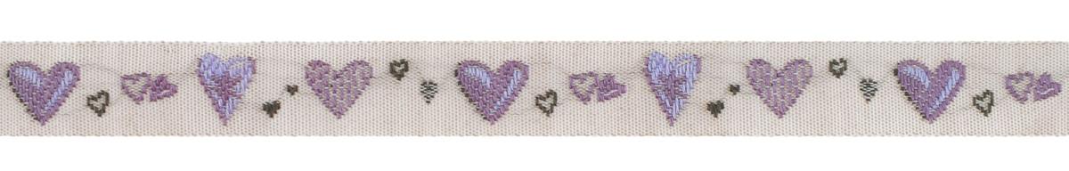Тесьма декоративная Acufactum Ute Menze Сердечки, цвет: лиловый, серый, 1 х 100 см35102-01Декоративная тесьма Acufactum Ute Menze Сердечки изготовлена из высококачественного 100% полиэстера. На ленте изображены сердца разного размера. Рисунок выполнен из 100% хлопка. Такая тесьма идеально подойдет для оформления различных творческих работ таких, как скрапбукинг, аппликация, декор коробок, открыток и многое другое. Она станет незаменимым элементом в создании рукотворного шедевра. Ширина тесьмы: 1 см. Длина тесьмы: 100 см.