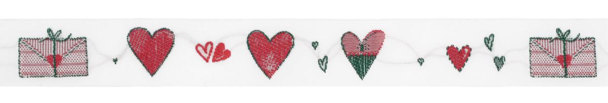 Тесьма декоративная Конверт и сердечко, цвет: белый, красный, 1 м х 20 мм. 35060-0235060-02Изысканная декоративная тесьма Конверт и сердечко выполнена из высококачественного 100% полиэстера. На ленте изображены сердца разной формы и размера. Рисунок выполнен из 100% хлопка. Тесьма Acufactum ткется на старинных станках с использованием перфокарт, которые изготавливаются для каждого вида тесьмы с тончайшей проработкой самых мелких деталей. Это достаточно долгий и трудоемкий процесс, но результат того стоит! Тесьма наивысшего уровня качества, которая очень практична в использовании т.к. выдерживает стирку при температуре 60 градусов. А изобилие дизайнов просто потрясает!