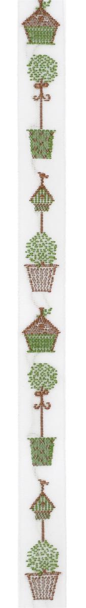 Тесьма декоративная Скворечники, цвет: белый, зеленый, коричневый, 1 м х 10 мм. 35062-0235062-02Изысканная декоративная тесьма Бутоны роз выполнена из высококачественного 100% полиэстера. На ленте изображены скворечники, деревья в кадках. Рисунок выполнен из 100% хлопка. Тесьма Acufactum ткется на старинных станках с использованием перфокарт, которые изготавливаются для каждого вида тесьмы с тончайшей проработкой самых мелких деталей. Это достаточно долгий и трудоемкий процесс, но результат того стоит! Тесьма наивысшего уровня качества, которая очень практична в использовании т.к. выдерживает стирку при температуре 60 градусов. А изобилие дизайнов просто потрясает!
