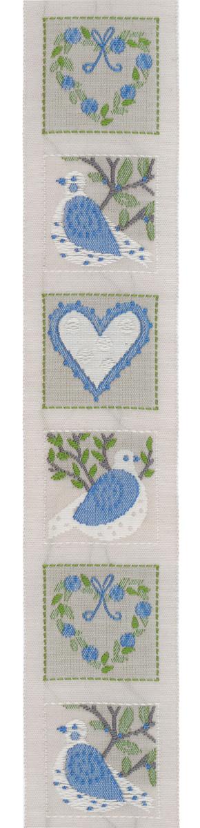 Тесьма декоративная Птицы и сердца, цвет: светло-серый, синий, 1 м х 30 мм. 35088-0335088-03Изысканная декоративная тесьма Птицы и сердца выполнена из высококачественного 100% полиэстера. На ленте изображены сердца с цветами и птицы на дереве, каждый рисунок в отдельном квадрате. Рисунок выполнен из 100% хлопка. Тесьма Acufactum ткется на старинных станках с использованием перфокарт, которые изготавливаются для каждого вида тесьмы с тончайшей проработкой самых мелких деталей. Это достаточно долгий и трудоемкий процесс, но результат того стоит! Тесьма наивысшего уровня качества, которая очень практична в использовании т.к. выдерживает стирку при температуре 60 градусов. А изобилие дизайнов просто потрясает!