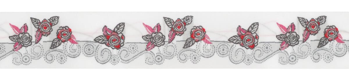 Тесьма декоративная Орнамент с розами, цвет: белый, серый, розовый, 1 м х 30 мм. 35109-0235109-02Изысканная декоративная тесьма Орнамент с розами выполнена из высококачественного 100% полиэстера. На ленте изображены цветы розы. Рисунок выполнен из 100% хлопка. Тесьма Acufactum ткется на старинных станках с использованием перфокарт, которые изготавливаются для каждого вида тесьмы с тончайшей проработкой самых мелких деталей. Это достаточно долгий и трудоемкий процесс, но результат того стоит! Тесьма наивысшего уровня качества, которая очень практична в использовании т.к. выдерживает стирку при температуре 60 градусов. А изобилие дизайнов просто потрясает!