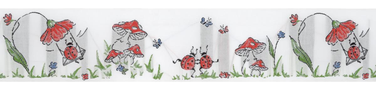 Тесьма декоративная Играющие жуки, цвет: белый, голубой, красный, 1 м х 50 мм. 35095-0235095-02Изысканная декоративная тесьма Играющие жуки выполнена из высококачественного 100% полиэстера. На ленте изображены божьи коровки, цветы, бабочки и грибы. Рисунок выполнен из 100% хлопка. Тесьма Acufactum ткется на старинных станках с использованием перфокарт, которые изготавливаются для каждого вида тесьмы с тончайшей проработкой самых мелких деталей. Это достаточно долгий и трудоемкий процесс, но результат того стоит! Тесьма наивысшего уровня качества, которая очень практична в использовании т.к. выдерживает стирку при температуре 60 градусов. А изобилие дизайнов просто потрясает!