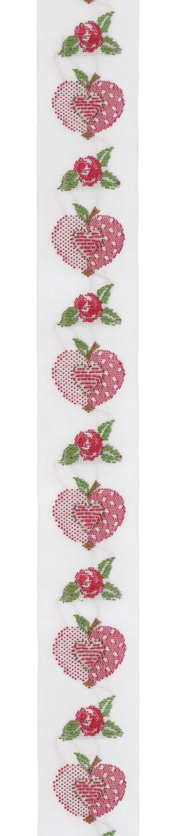 Тесьма декоративная Яблоко-сердце, цвет: белый, красный, 1 м х 20 мм. 35069-0135069-01Изысканная декоративная тесьма Яблоко-сердце выполнена из высококачественного 100% полиэстера. На ленте изображены розы, яблоки, в середине яблока - сердце. Рисунок выполнен из 100% хлопка. Тесьма Acufactum ткется на старинных станках с использованием перфокарт, которые изготавливаются для каждого вида тесьмы с тончайшей проработкой самых мелких деталей. Это достаточно долгий и трудоемкий процесс, но результат того стоит! Тесьма наивысшего уровня качества, которая очень практична в использовании т.к. выдерживает стирку при температуре 60 градусов. А изобилие дизайнов просто потрясает!