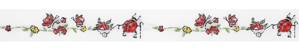 Тесьма декоративная Жук с цветочной тележкой, цвет: белый, красный, зеленый, 1 м х 20 мм. 35093-0135093-01Изысканная декоративная тесьма Жук с цветочной тележкой выполнена из высококачественного 100% полиэстера. На ленте изображен жук с цветочной тележкой. Рисунок выполнен из 100% хлопка. Тесьма Acufactum ткется на старинных станках с использованием перфокарт, которые изготавливаются для каждого вида тесьмы с тончайшей проработкой самых мелких деталей. Это достаточно долгий и трудоемкий процесс, но результат того стоит! Тесьма наивысшего уровня качества, которая очень практична в использовании т.к. выдерживает стирку при температуре 60 градусов. А изобилие дизайнов просто потрясает!
