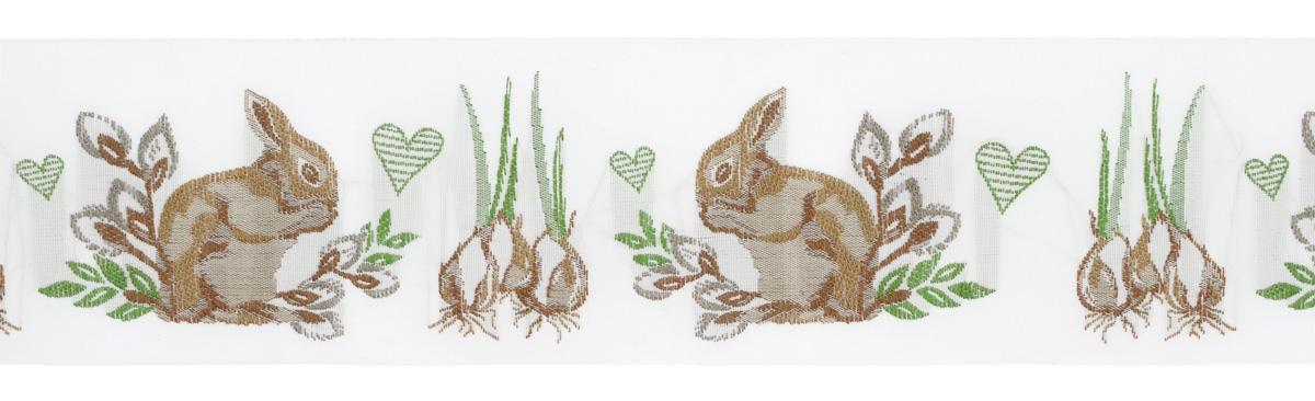 Тесьма декоративная Заяц и весна, цвет: белый, зеленый, коричневый, 1 м х 50 мм. 3508635086Тесьма декоративная Заяц и весна выполнена из высококачественного 100% полиэстера. Рисунок выполнен из 100% хлопка. Тесьма Acufactum и сегодня ткется на старинных станках с использованием перфокарт, которые изготавливаются для каждого вида тесьмы с тончайшей проработкой самых мелких деталей. Это достаточно долгий и трудоемкий процесс, но результат того стоит! Тесьма наивысшего уровня качества, которая очень практична в использовании, т.к. выдерживает стирку при температуре 60 градусов. А изобилие дизайнов просто потрясает!