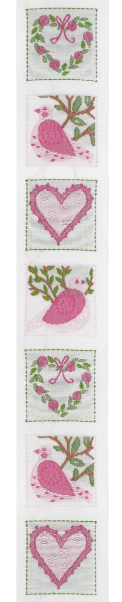 Тесьма декоративная Птицы и сердца, цвет: розовый, белый, 1 м х 30 мм. 35088-0135088-01Изысканная декоративная тесьма Птицы и сердца выполнена из высококачественного 100% полиэстера. На ленте изображены сердца с цветами и птицы на дереве, каждый рисунок в отдельном квадрате. Рисунок выполнен из 100% хлопка. Тесьма Acufactum ткется на старинных станках с использованием перфокарт, которые изготавливаются для каждого вида тесьмы с тончайшей проработкой самых мелких деталей. Это достаточно долгий и трудоемкий процесс, но результат того стоит! Тесьма наивысшего уровня качества, которая очень практична в использовании т.к. выдерживает стирку при температуре 60 градусов. А изобилие дизайнов просто потрясает!