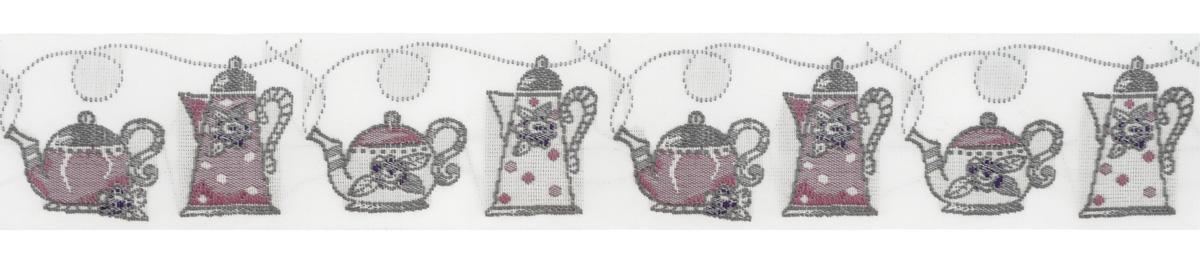 Тесьма декоративная Чайники, цвет: белый, фиолетовый, 1 м х 30 мм. 35107-0435107-04Изысканная декоративная тесьма Чайники выполнена из высококачественного 100% полиэстера. На ленте изображены разнообразные чайники. Рисунок выполнен из 100% хлопка. Тесьма Acufactum ткется на старинных станках с использованием перфокарт, которые изготавливаются для каждого вида тесьмы с тончайшей проработкой самых мелких деталей. Это достаточно долгий и трудоемкий процесс, но результат того стоит! Тесьма наивысшего уровня качества, которая очень практична в использовании т.к. выдерживает стирку при температуре 60 градусов. А изобилие дизайнов просто потрясает!