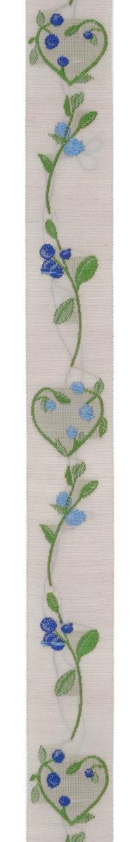 Тесьма декоративная Ягодные сердечки, цвет: бежевый, синий, голубой, 1 м х 20 мм. 35032-0335032-03Изысканная декоративная тесьма Ягодные сердечки выполнена из высококачественного 100% полиэстера. На ленте веточки с ягодами. Рисунок выполнен из 100% хлопка. Тесьма Acufactum ткется на старинных станках с использованием перфокарт, которые изготавливаются для каждого вида тесьмы с тончайшей проработкой самых мелких деталей. Это достаточно долгий и трудоемкий процесс, но результат того стоит! Тесьма наивысшего уровня качества, которая очень практична в использовании т.к. выдерживает стирку при температуре 60 градусов. А изобилие дизайнов просто потрясает!