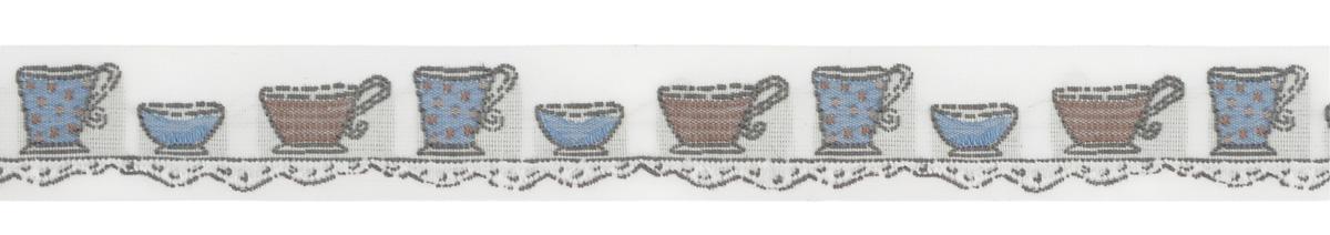 Тесьма декоративная Чайные чашки, цвет: молочный, голубой, коричневый, 1 м х 20 мм. 35106-0135106-01Изысканная декоративная тесьма Чайные чашки выполнена из высококачественного 100% полиэстера. На ленте изображены чайные чашки разных размеров. Рисунок выполнен из 100% хлопка. Тесьма Acufactum ткется на старинных станках с использованием перфокарт, которые изготавливаются для каждого вида тесьмы с тончайшей проработкой самых мелких деталей. Это достаточно долгий и трудоемкий процесс, но результат того стоит! Тесьма наивысшего уровня качества, которая очень практична в использовании т.к. выдерживает стирку при температуре 60 градусов. А изобилие дизайнов просто потрясает!