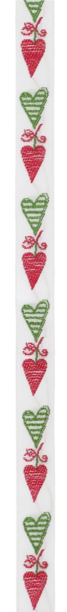 Тесьма декоративная Сердечки, цвет: белый, красный, зеленый, 1 м х 10 мм. 3504635046Изысканная декоративная тесьма Сердечки выполнена из высококачественного 100% полиэстера. На ленте изображены сердца разного размера. Рисунок выполнен из 100% хлопка. Тесьма Acufactum ткется на старинных станках с использованием перфокарт, которые изготавливаются для каждого вида тесьмы с тончайшей проработкой самых мелких деталей. Это достаточно долгий и трудоемкий процесс, но результат того стоит! Тесьма наивысшего уровня качества, которая очень практична в использовании т.к. выдерживает стирку при температуре 60 градусов. А изобилие дизайнов просто потрясает!