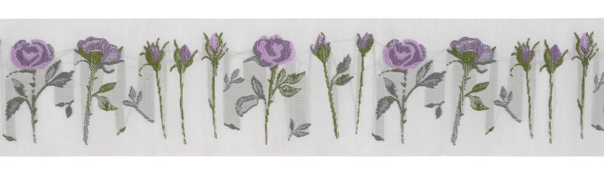 Тесьма декоративная Розы, цвет: серый, фиолетовый, 1 м х 50 мм. 35110-0335110-03Изысканная декоративная тесьма Розы выполнена из высококачественного 100% полиэстера. На ленте изображены розы со стеблем. Рисунок выполнен из 100% хлопка. Тесьма Acufactum ткется на старинных станках с использованием перфокарт, которые изготавливаются для каждого вида тесьмы с тончайшей проработкой самых мелких деталей. Это достаточно долгий и трудоемкий процесс, но результат того стоит! Тесьма наивысшего уровня качества, которая очень практична в использовании т.к. выдерживает стирку при температуре 60 градусов. А изобилие дизайнов просто потрясает!