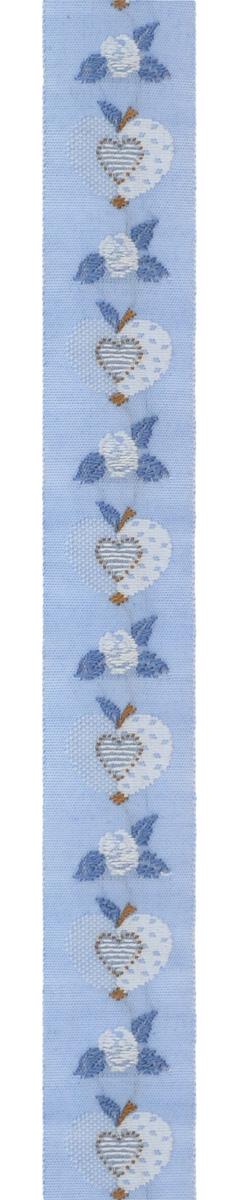 Тесьма декоративная Яблоко-сердце, цвет: голубой, коричневый, 1 м х 20 мм. 35069-0435069-04Изысканная декоративная тесьма Яблоко-сердце выполнена из высококачественного 100% полиэстера. На ленте изображены розы, яблоки, в середине яблока - сердце. Рисунок выполнен из 100% хлопка. Тесьма Acufactum ткется на старинных станках с использованием перфокарт, которые изготавливаются для каждого вида тесьмы с тончайшей проработкой самых мелких деталей. Это достаточно долгий и трудоемкий процесс, но результат того стоит! Тесьма наивысшего уровня качества, которая очень практична в использовании т.к. выдерживает стирку при температуре 60 градусов. А изобилие дизайнов просто потрясает!