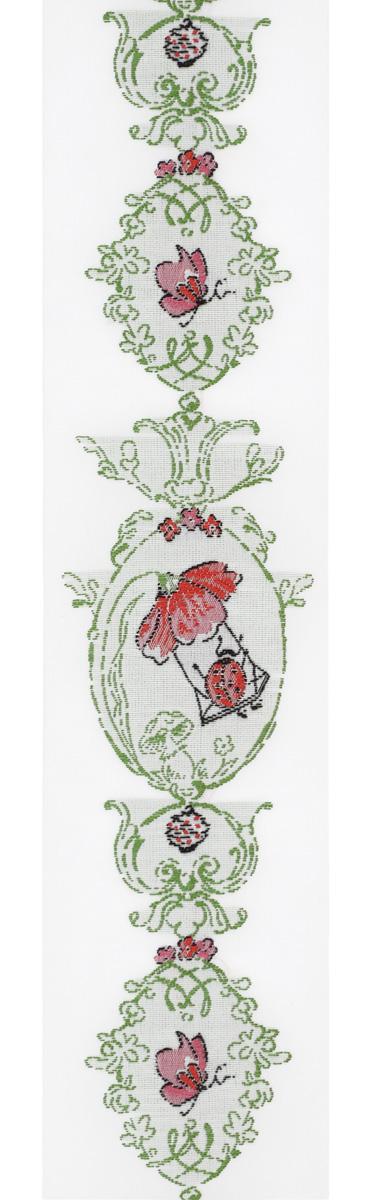 Тесьма декоративная Летние овалы, цвет: белый, зеленый, красный, 1 м х 50 мм. 35096-0135096-01Изысканная декоративная тесьма Летние овалы выполнена из высококачественного 100% полиэстера. На ленте изображены цветы маки, бабочки и божьи коровки. Рисунок выполнен из 100% хлопка. Тесьма Acufactum ткется на старинных станках с использованием перфокарт, которые изготавливаются для каждого вида тесьмы с тончайшей проработкой самых мелких деталей. Это достаточно долгий и трудоемкий процесс, но результат того стоит! Тесьма наивысшего уровня качества, которая очень практична в использовании т.к. выдерживает стирку при температуре 60 градусов. А изобилие дизайнов просто потрясает!