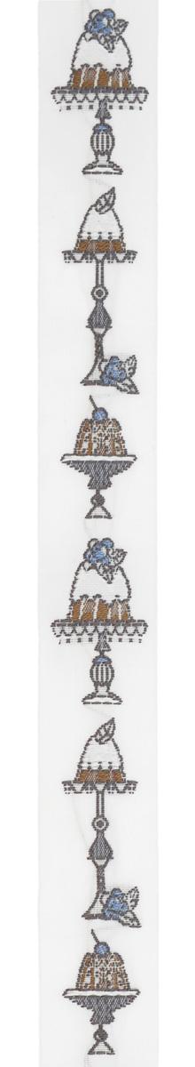 Тесьма декоративная Пирожные, цвет: белый, коричневый, серый, 1 м х 20 мм. 35108-0135108-01Изысканная декоративная тесьма Пирожные выполнена из высококачественного 100% полиэстера. На ленте изображены разнообразные пирожные. Рисунок выполнен из 100% хлопка. Тесьма Acufactum ткется на старинных станках с использованием перфокарт, которые изготавливаются для каждого вида тесьмы с тончайшей проработкой самых мелких деталей. Это достаточно долгий и трудоемкий процесс, но результат того стоит! Тесьма наивысшего уровня качества, которая очень практична в использовании т.к. выдерживает стирку при температуре 60 градусов. А изобилие дизайнов просто потрясает!