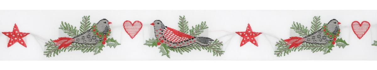 Тесьма декоративная Рождественские птицы, цвет: белый, зеленый, красный, серый, 1 м х 30 мм. 35079-0135079-01Тесьма декоративная Рождественские птицы выполнена из высококачественного 100% полиэстера. На ленте изображены птицы, сидящие на ветках ели. Рисунок выполнен из 100% хлопка. Тесьма Acufactum и сегодня ткется на старинных станках с использованием перфокарт, которые изготавливаются для каждого вида тесьмы с тончайшей проработкой самых мелких деталей. Это достаточно долгий и трудоемкий процесс, но результат того стоит! Тесьма наивысшего уровня качества, которая очень практична в использовании, т.к. выдерживает стирку при температуре 60 градусов. А изобилие дизайнов просто потрясает!