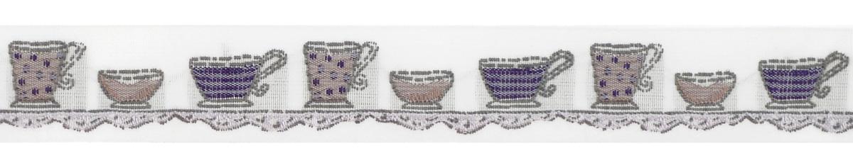 Тесьма декоративная Чайные чашки, цвет: белый, серый, фиолетовый, 1 м х 20 мм. 35106-0435106-04Изысканная декоративная тесьма Чайные чашки выполнена из высококачественного 100% полиэстера. На ленте изображены чашки разных размеров и форм. Рисунок выполнен из 100% хлопка. Тесьма Acufactum ткется на старинных станках с использованием перфокарт, которые изготавливаются для каждого вида тесьмы с тончайшей проработкой самых мелких деталей. Это достаточно долгий и трудоемкий процесс, но результат того стоит! Тесьма наивысшего уровня качества, которая очень практична в использовании т.к. выдерживает стирку при температуре 60 градусов. А изобилие дизайнов просто потрясает!
