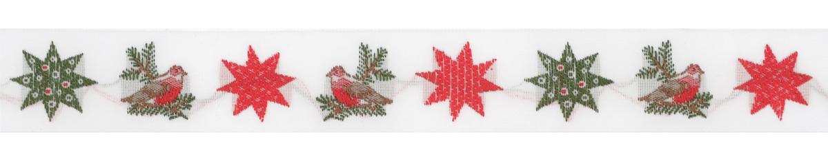 Тесьма декоративная Малиновка и рождественские звезды, цвет: белый, зеленый, красный, 1 м х 20 мм. 3507335073Изысканная декоративная тесьма Малиновка и рождественские звезды выполнена из высококачественного 100% полиэстера. На ленте изображены звездочки разных цветов. Тесьма Acufactum ткется на старинных станках с использованием перфокарт, которые изготавливаются для каждого вида тесьмы с тончайшей проработкой самых мелких деталей. Это достаточно долгий и трудоемкий процесс, но результат того стоит! Тесьма наивысшего уровня качества, которая очень практична в использовании т.к. выдерживает стирку при температуре 60 градусов. А изобилие дизайнов просто потрясает!