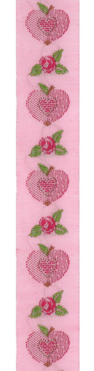 Тесьма декоративная Яблоко-сердце, цвет: розовый, красный, 1 м х 20 мм. 35069-0335069-03Изысканная декоративная тесьма Яблоко-сердце выполнена из высококачественного 100% полиэстера. На ленте изображены розы, яблоки, в середине яблока - сердце. Рисунок выполнен из 100% хлопка. Тесьма Acufactum ткется на старинных станках с использованием перфокарт, которые изготавливаются для каждого вида тесьмы с тончайшей проработкой самых мелких деталей. Это достаточно долгий и трудоемкий процесс, но результат того стоит! Тесьма наивысшего уровня качества, которая очень практична в использовании т.к. выдерживает стирку при температуре 60 градусов. А изобилие дизайнов просто потрясает!