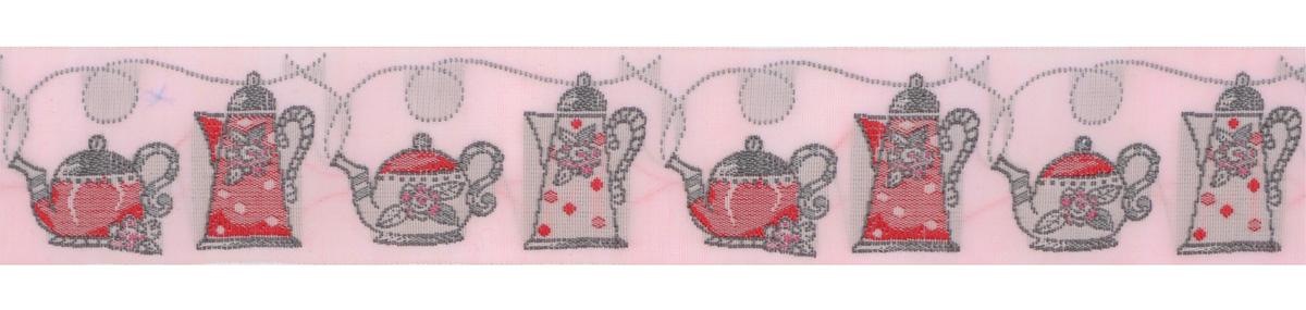 Тесьма декоративная Чайники, цвет: розовый, серый, красный, 1 м х 30 мм. 35107-0335107-03Изысканная декоративная тесьма Чайники выполнена из высококачественного 100% полиэстера. На ленте изображены разнообразные чайники. Рисунок выполнен из 100% хлопка. Тесьма Acufactum ткется на старинных станках с использованием перфокарт, которые изготавливаются для каждого вида тесьмы с тончайшей проработкой самых мелких деталей. Это достаточно долгий и трудоемкий процесс, но результат того стоит! Тесьма наивысшего уровня качества, которая очень практична в использовании т.к. выдерживает стирку при температуре 60 градусов. А изобилие дизайнов просто потрясает!