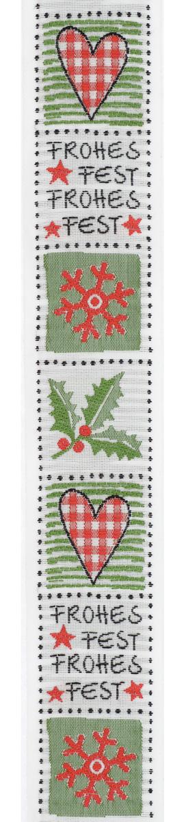Тесьма декоративная Рождественские квадраты, цвет: белый, зеленый, красный, черный, 1 м х 30 мм. 35082-0135082-01Тесьма декоративная Рождественские квадраты выполнена из высококачественного 100% полиэстера. На ленте изображены сердца, снежинки, веточки с ягодами. Рисунок выполнен из 100% хлопка. Тесьма Acufactum и сегодня ткется на старинных станках с использованием перфокарт, которые изготавливаются для каждого вида тесьмы с тончайшей проработкой самых мелких деталей. Это достаточно долгий и трудоемкий процесс, но результат того стоит! Тесьма наивысшего уровня качества, которая очень практична в использовании, т.к. выдерживает стирку при температуре 60 градусов. А изобилие дизайнов просто потрясает!
