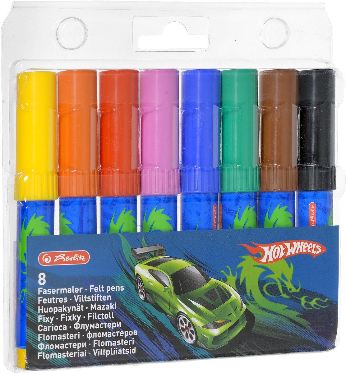 Herlitz Набор фломастеров Hot Wheels 8 цветов10795664Набор фломастеров Herlitz  Hot Wheels- это 8 фломастеров ярких насыщенных цветов. Фломастеры оснащены вентилируемым колпачком, а корпус изготовлен из прочного пластика. Фломастеры устойчивы к вдавливанию и имеют цилиндрический пишущий узел. Когда ваш юный художник будет рисовать, то можете не беспокоиться, чернила этих фломастеров совершенно безопасны для здоровья вашего малыша. Набор фломастеров от Herlitz обязательно порадует не только вашего малыша, но и вас. Рекомендуемый возраст от трех лет.