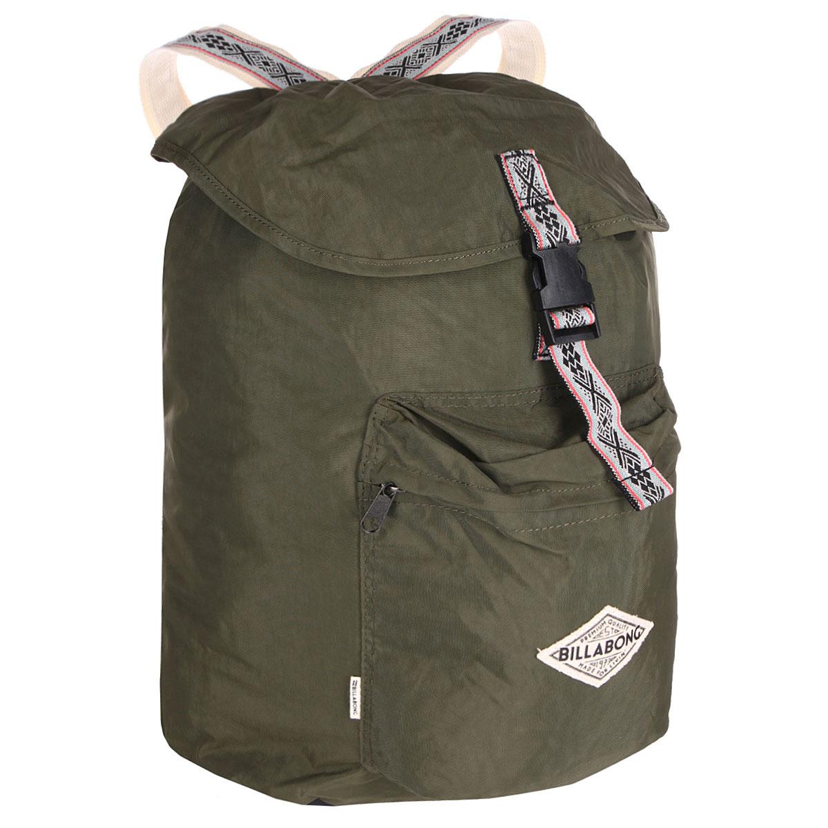 Рюкзак городской Billabong Sister Solstice, цвет: зеленый, 30 лU9BP02Вместительный рюкзак-мешок, декорированный узорными лямками. Основное отделение рюкзака затягивается на шнурок и дополнительно защищено клапаном на пряжке благодаря чему Ваше имущество будет надежно защищено от посторонних посягательств.