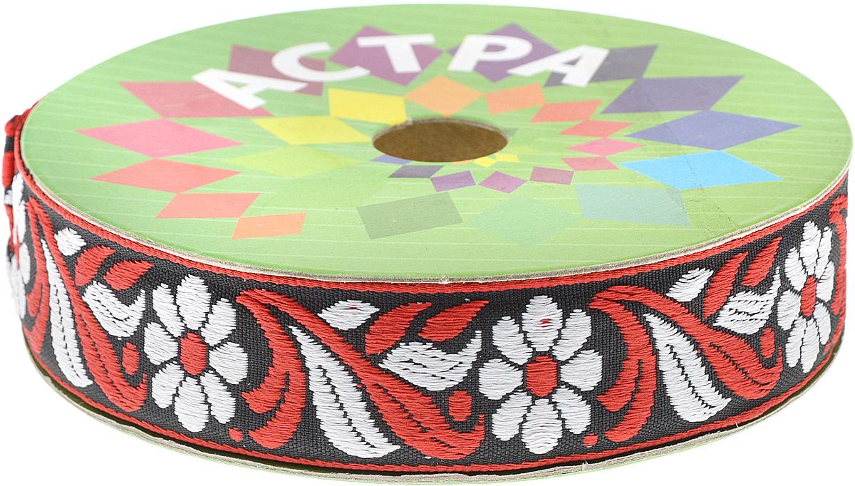 Тесьма декоративная Астра, цвет: красный, черный, белый, ширина 2,5 см, длина 1640 см7703321_1Декоративная тесьма Астра выполнена из полиэстера и оформлена оригинальным рисунком. Такая тесьма идеально подойдет для оформления различных творческих работ, таких, как скрапбукинг, аппликация, декор коробок, открыток и многого другого. Изделие станет незаменимым элементом в создании рукотворного шедевра. Длина: 1640 см. Ширина: 2,5 см.