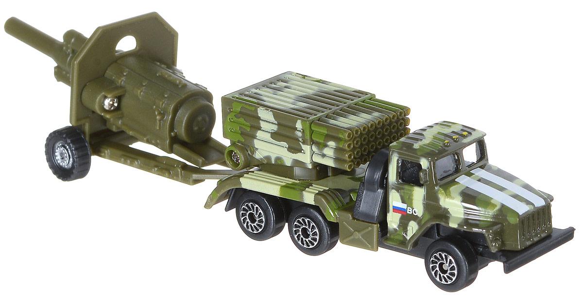 ТехноПарк Реактивная система залпового огня с пушкойSB-15-59+60-WB_Реактивная система залпового огняРеактивная система залпового огня с пушкой ТехноПарк отлично подойдет для коллекции машинок вашего ребенка. К грузовику в комплекте поставляется самоходная зенитная пушка, она цепляется к заднему фаркопу грузовика. Данная модификация грузовика УРАЛ является военной, на ее базе установлена реактивная система залпового огня Град, проще говоря, эта машина стреляет ракетами. Ваш ребенок будет в восторге от такого подарка! Изделия выполнены из безопасного для ребенка материала.