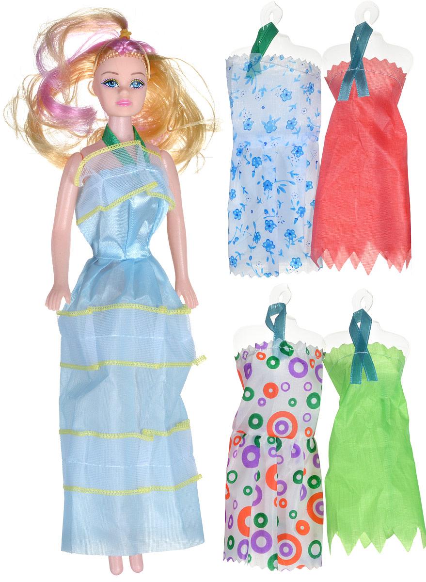 Shantou Кукла Modern Hello GirlS399-H43076Кукла Shantou Modern Hello Girl непременно порадует вашу дочурку. Кукла изготовлена из безопасного материала. У нее длинные светлые волосы с розовыми прядями, которые ваша малышка непременно полюбит расчесывать и придумывать из них различные прически. Кукла одета в длинное голубое платье. Голова и ручки куклы подвижны. Кукла не может стоять самостоятельно. В комплект к кукле входят четыре дополнительных наряда. Порадуйте своего ребенка таким замечательным подарком!