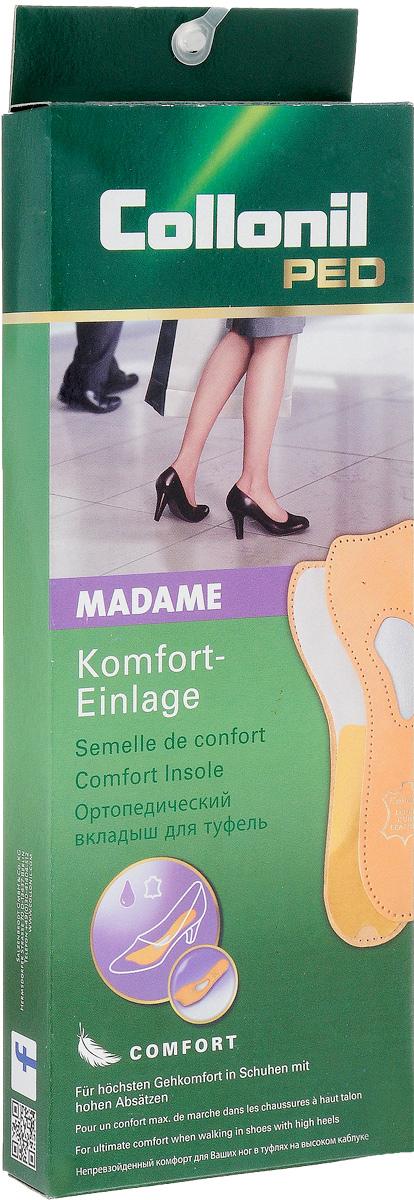Самоклеющаяся стелька для поддержания тонуса мышц ступни Collonil Madame. Размер 389042 380Самоклеющаяся кожаная стелька с встроенной подушечкой для поддержания тонуса мышц ступни (подходит для обуви с высоким каблуком)