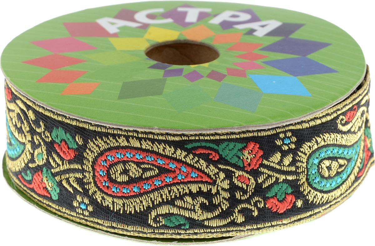 Тесьма декоративная Астра, цвет: черный, ширина 3 см, длина 9 м. 77034667703466_зеленыйДекоративная тесьма Астра выполнена из текстиля и оформлена оригинальным жаккардовым орнаментом. Такая тесьма идеально подойдет для оформления различных творческих работ таких, как скрапбукинг, аппликация, декор коробок и открыток и многое другое. Тесьма наивысшего качества и практична в использовании. Она станет незаменимым элементом в создании рукотворного шедевра. Ширина: 3 см. Длина: 9 м.