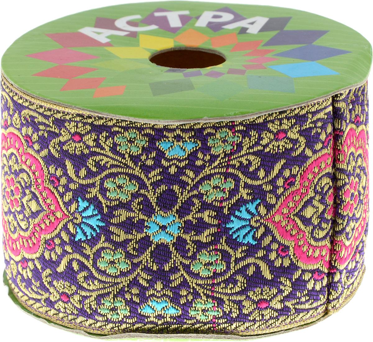 Тесьма декоративная Астра, цвет: зеленый (С4), ширина 5,5 см, длина 9 м. 77034227703422_C4Декоративная тесьма Астра выполнена из текстиля и оформлена оригинальным жаккардовым орнаментом с цветочными мотивами. Такая тесьма идеально подойдет для оформления различных творческих работ таких, как скрапбукинг, аппликация, декор коробок и открыток и многое другое. Тесьма наивысшего качества и практична в использовании. Она станет незаменимым элементом в создании рукотворного шедевра.