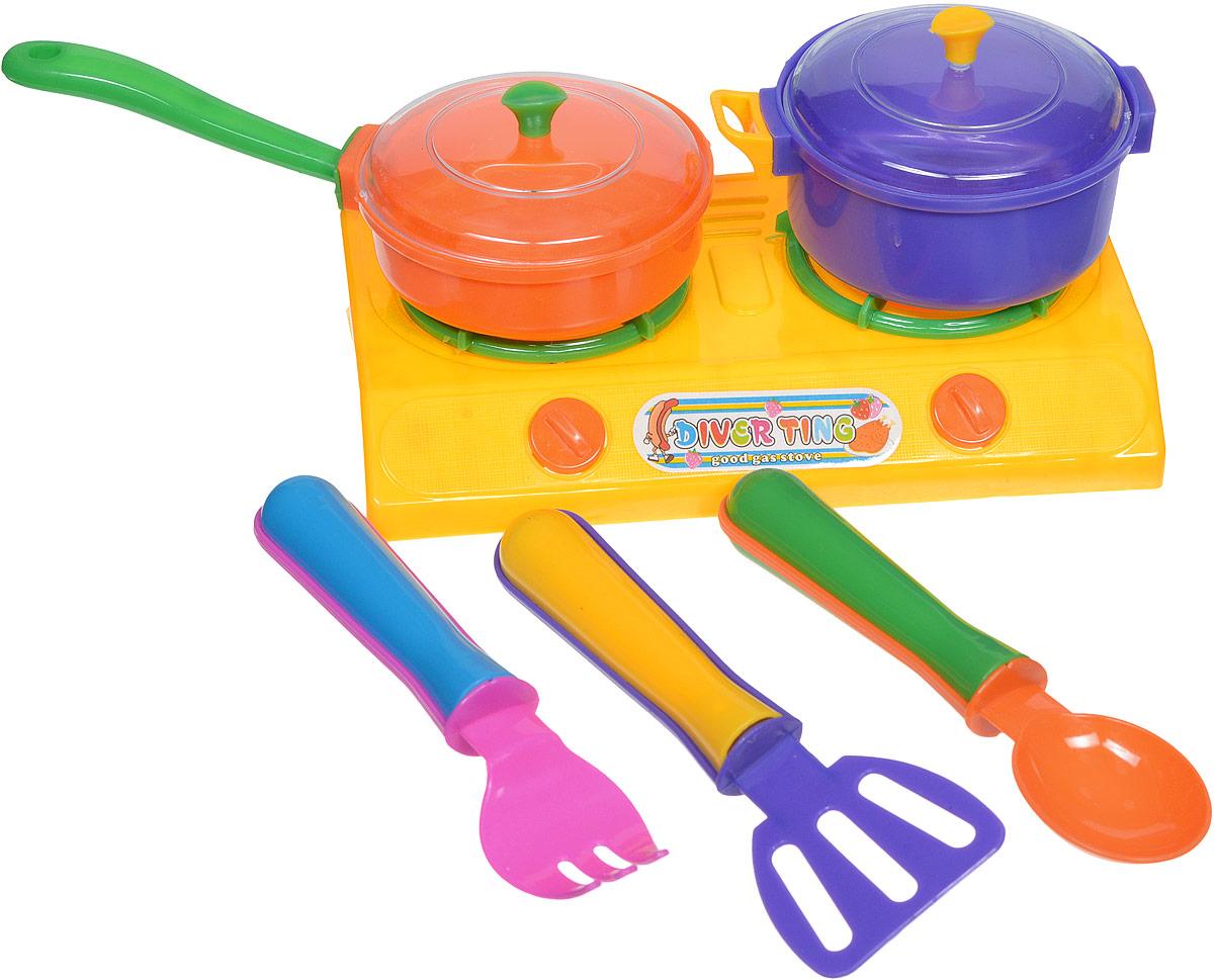 Shantou Игрушечный кухонный набор цвет плиты желтыйT656-H38022_желтыйИгрушечный кухонный набор Shantou состоит из пластиковых кухонных приборов и включает в себя плитку с двумя конфорками, кастрюлю и сковороду с прозрачными крышками, а также 3 столовых прибора. Используя данный комплект, девочка может выступать в роли мамы или домашнего повара в сюжетно-ролевых играх, которые содействуют развитию коммуникабельных способностей.