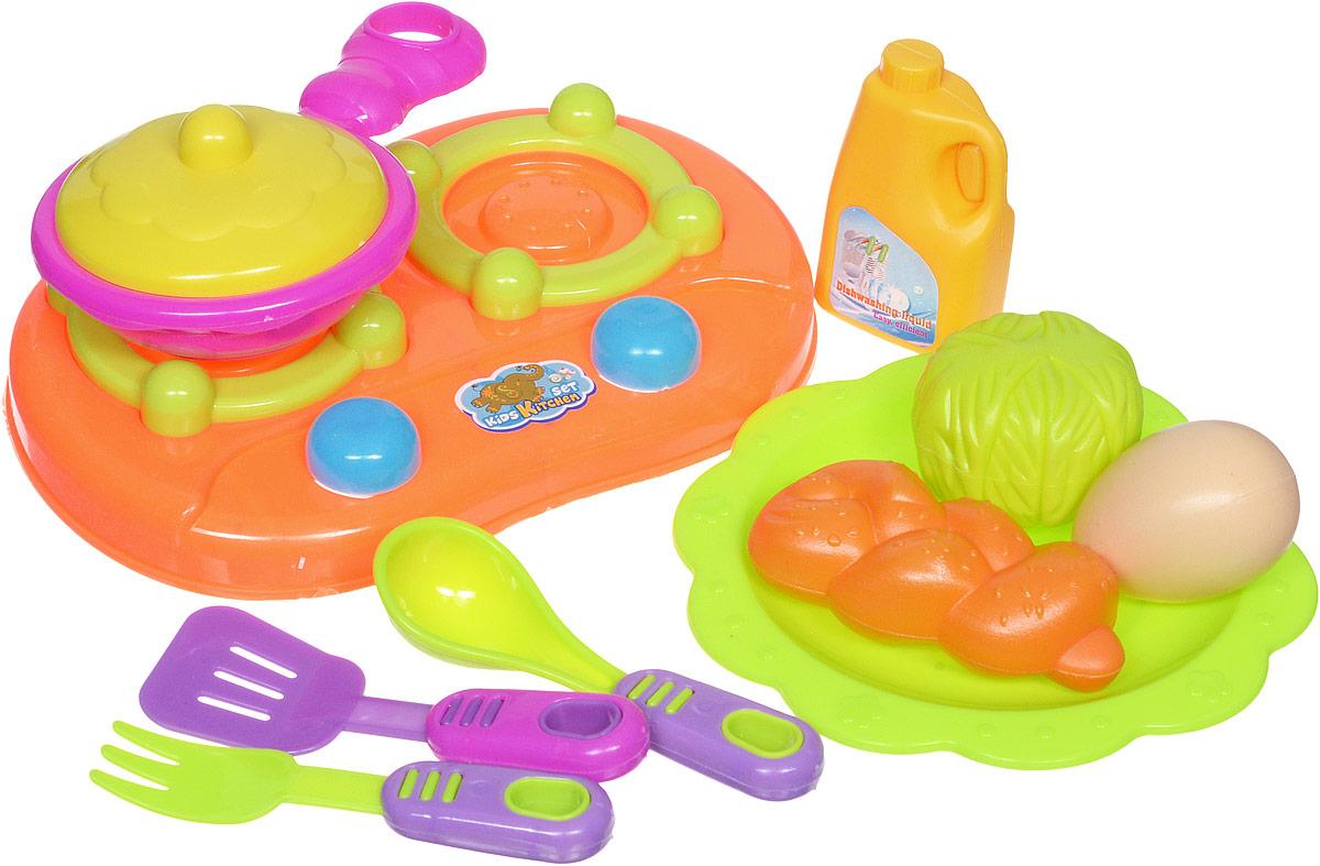 Shantou Игрушечный набор посуды с продуктами цвет плиты оранжевыйT740-H38027Игрушечный набор посуды Shantou включает элементы посуды и еды. В набор входят: плита, сковорода с крышкой, муляжи продуктов, 3 столовых прибора, средство для мытья посуды и тарелка - предметы, без которых не обходится ни одна хозяйка. Используя посуду, ребенок сможет готовить игрушечную еду. С данным набором можно освоить азы такого интересного занятия, как приготовление пищи. Все предметы набора выполнены из качественных и безопасных материалов.