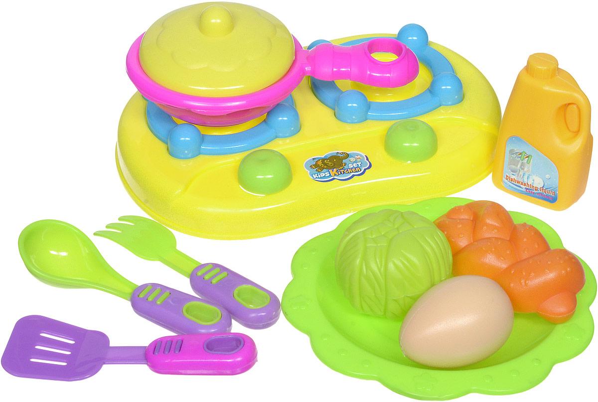 Shantou Игрушечный набор посуды с продуктами цвет плиты желтыйT740-H38027_желтыйИгрушечный набор посуды Shantou включает элементы посуды и еды. В набор входят: плита, сковородка с крышкой, муляжи продуктов, 3 столовых прибора и тарелка - предметы, без которых не обходится ни одна хозяйка. Используя посуду, ребенок сможет готовить игрушечную еду. С данным набором можно освоить азы такого интересного занятия, как приготовление пищи. Все предметы набора выполнены из качественных и безопасных материалов.
