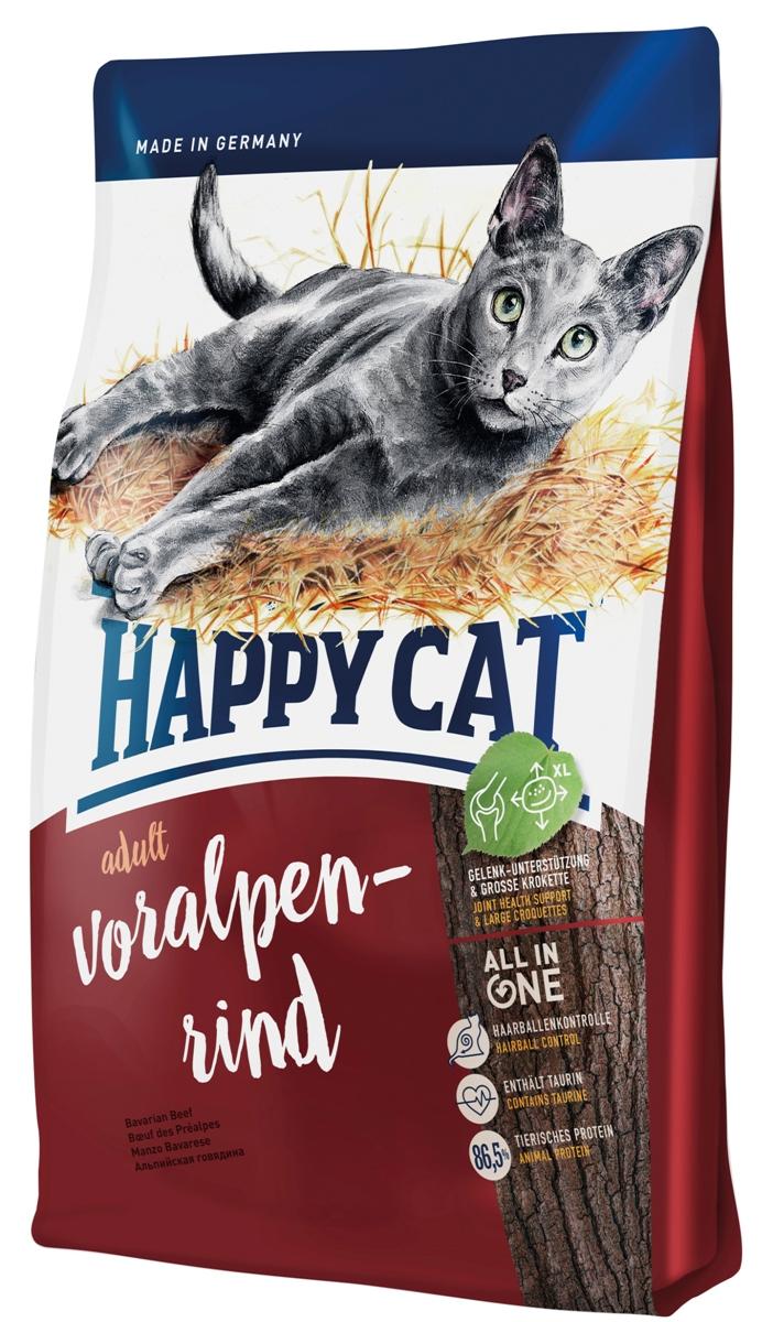 Корм сухой Happy Cat Adult для кошек с нормальной активностью, альпийская говядина, 1,4 кг70200Happy Cat Adult полностью обеспечивает питомца, который любит погулять на улице, всеми необходимыми высококачественными веществами. В состав входят вкусная говядина и птица. Изысканная рецептура без рыбы была специально разработана под потребности свободно гуляющих кошек и активных домашних кошек, так как калорийность полностью соответствует их большой физической активности. Чуть увеличенный размер гранулы хорошо сказывается на зубах. Состав: мясопродукты (13% говядины), кукурузная мука, кукуруза, птица (13%), птичий жир, картофельные хлопья, рисовая мука, клетчатка, мясная мука (0,8% говядины), гемоглобин, свекольная пульпа, сухое цельное яйцо, хлорид натрия, дрожжи, яблочная пульпа (0,4%), хлорид калия, морские водоросли (0,2%), семя льна (0,2%), новозеландский моллюск (0,04%), корень цикория (0,04%), дрожжи (экстрагированные), расторопша, артишок, одуванчик, имбирь, березовый лист, крапива, ромашка, кориандр, розмарин, шалфей, корень...