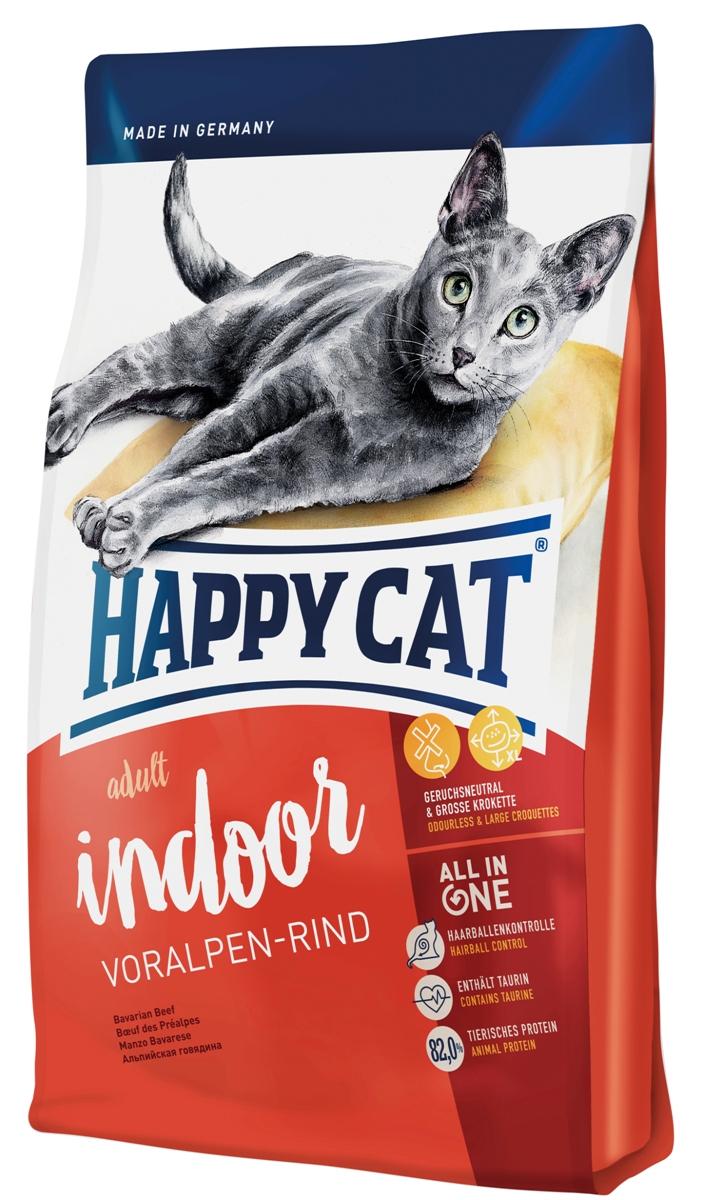 Корм сухой Happy Cat Adult Indoor для кошек с нормальной активностью, альпийская говядина, 1,4 кг70218Happy Cat Adult Indoor - сбалансированный корм, который содержит все необходимые вещества, но в тоже время должен предотвратить набор веса. Корм не содержит рыбы, но высококачественный протеин и калорийность соответствуют малоподвижному образу жизни. Немного увеличенные гранулы благотворно влияет на полость рта, так как кошка может полноценно пережевывать. Состав: мясопродукты (11,5% говядины), кукурузная мука, кукуруза, рисовая мука, птица (11%), картофельные хлопья, птичий жир, клетчатка, мясная мука (говядина 1%), гемоглобин, свекольная пульпа, сухое цельное яйцо, хлорид натрия, дрожжи, яблочная пульпа (0,4%), хлорид калия, морские водоросли (0,2%), семя льна (0,2%), Юкка Шидигера (0,04%), корень цикория (0,04%), дрожжи (экстрагированные), расторопша, артишок, одуванчик, имбирь, березовый лист, крапива, ромашка, кориандр, розмарин, шалфей, корень солодки, тимьян (общий объём сухих трав: 0,18%). Аналитический состав: сырой...