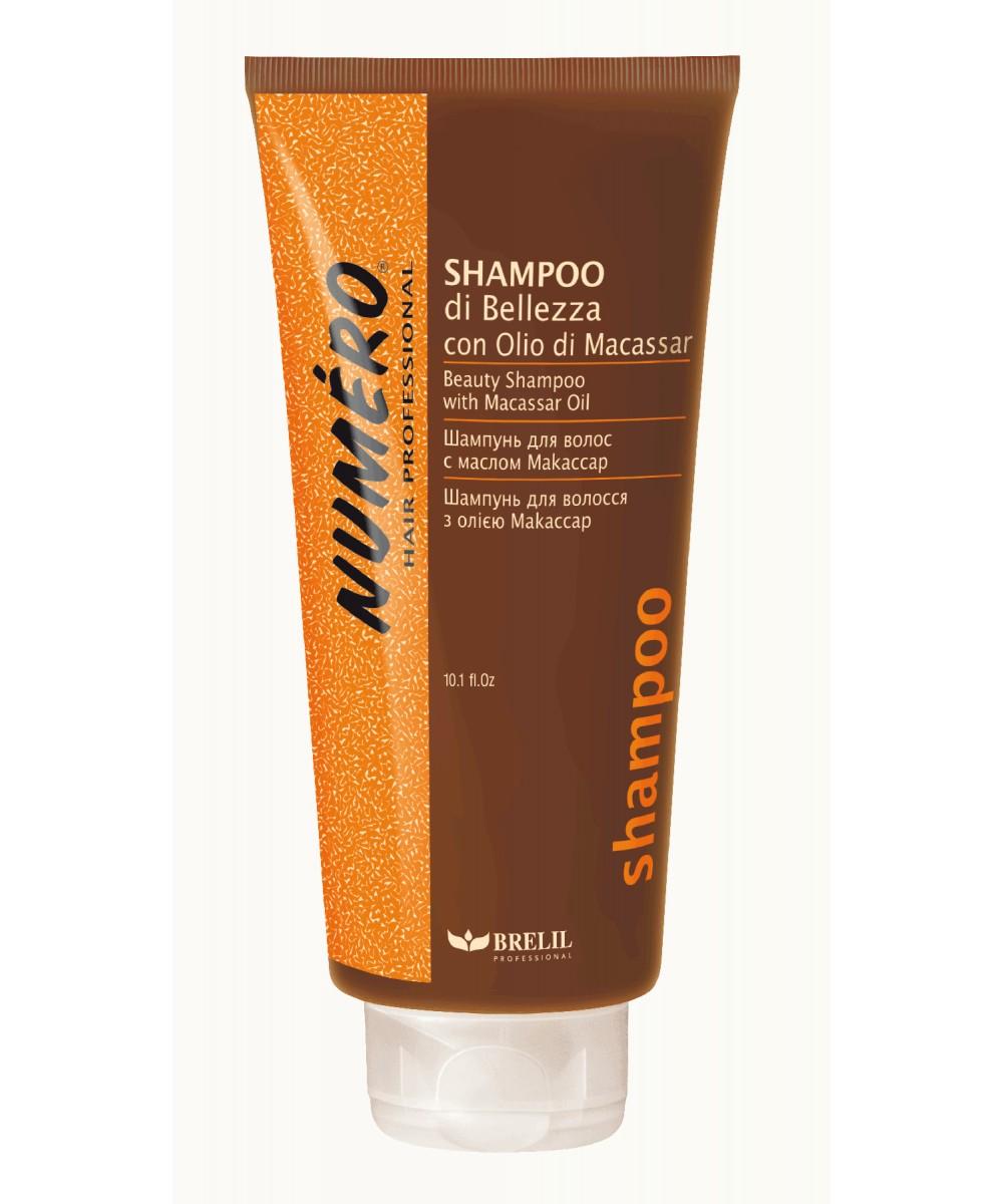 Brelil Шампунь для красоты волос с макассаровым маслом и кератином Numero Beauty Shampoo With Macassar Oil, 300 млB080041Brelil Numero Beauty Shampoo With Macassar Oil Шампунь для красоты волос с макассаровым маслом и кератином является прекрасным средством для тщательного очищения волос и их укрепления. Данный шампунь был разработан компанией Brelil специально для того, чтобы придать волосам замечательный блеск и отличный здоровый вид уже после самого первого применения. Средство основано на макассаром масле одном из самых лучших косметических масел, на протяжении многих веков используемое на Молуккских островах, которое восстанавливает даже самые слабые и безжизненные волосы, наделяя их силой и красотой. Шампунь включает в состав и кератин натуральный протеин, содержащийся непосредственно в структуре волос и осуществляющий реконструкцию и поддержу каждого волоса. Шампунь Brelil Numero Beauty восстанавливает и укрепляет волосы, поддерживает их естественную красоту.