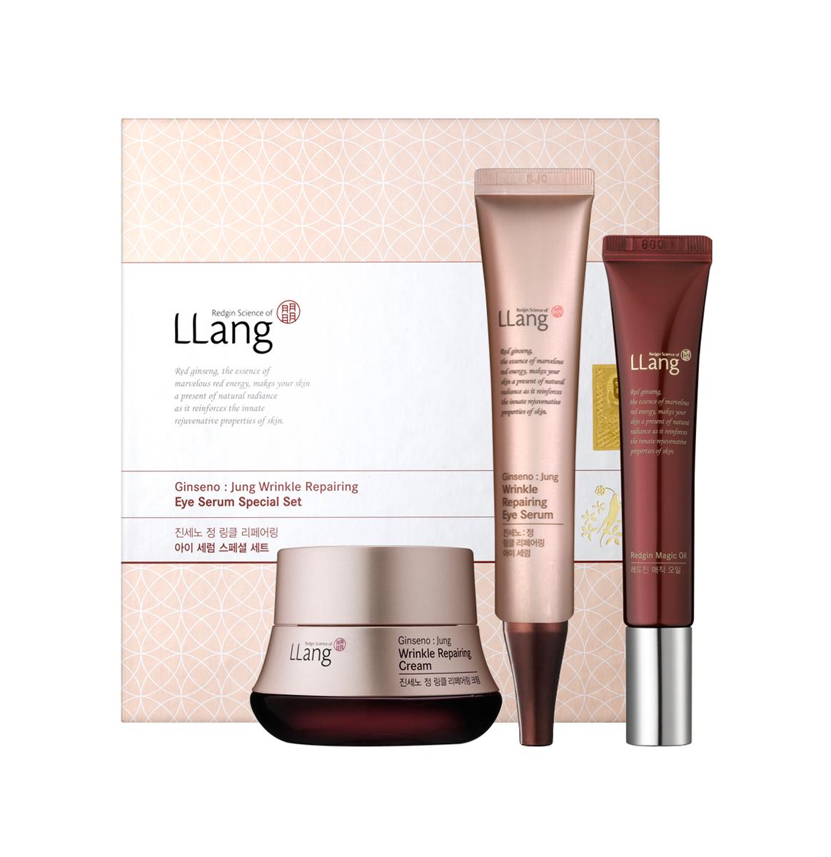 Llang Набор Крем для глаз от морщин (3ea) 25мл+30мл+15млPD001218A11. Восстанавливающий крем от морщин с женьшенем освежает уставшую кожу и делает её эластичной и упругой. Насыщенная текстура легко впитывается и придаёт коже здоровое сияние. 2. Средсво для глубоко питания увлажнения сухой кожи лица содержит экстракт и масло красного женьшеня, которые быстро успокаивают кожу, сохраняя ее влажной и мягкой. Может быть использовано универсально, помогает достичь максимальных результатов. 3. Сыворотка от морщин вокруг глаз.Активные компоненты красного женьшеня быстро впитываются в чувствительные участки кожи вокруг глаз,увлажняя,укрепляя и сохраняя её упругость.