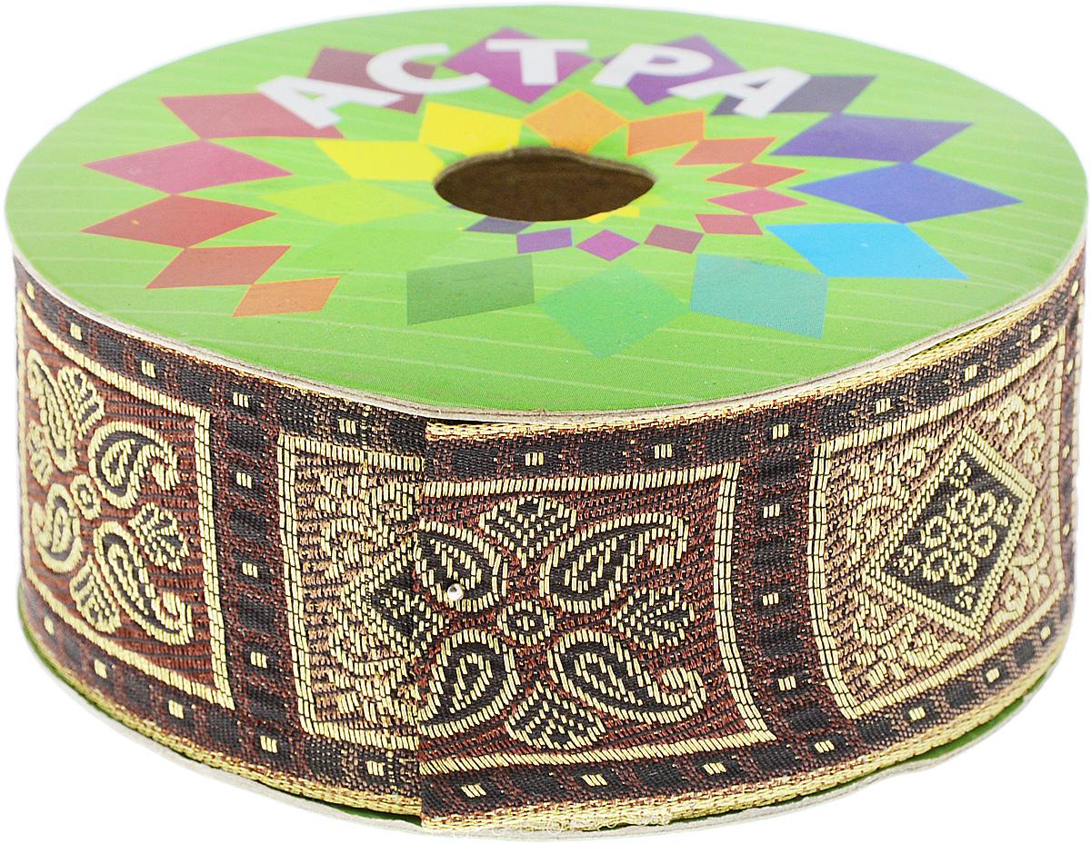 Тесьма декоративная Астра, цвет: коричневый (156/158D), ширина 4 см, длина 9 м. 77034537703453_156/158DДекоративная тесьма Астра выполнена из текстиля и оформлена оригинальным жаккардовым орнаментом. Такая тесьма идеально подойдет для оформления различных творческих работ таких, как скрапбукинг, аппликация, декор коробок и открыток и многое другое. Тесьма наивысшего качества и практична в использовании. Она станет незаменимым элементом в создании рукотворного шедевра. Ширина: 4 см. Длина: 9 м.