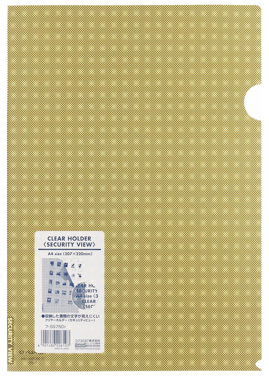 Kokuyo Папка-уголок Security цвет желтый828450Папка-уголок Kokuyo Security подойдет для хранения документов и тетрадей как для офисного работника, так и для студента или школьника. По форме это обычная папка-уголок формата А4, но ее обложка декорирована специальным рисунком в клетку, который не позволит прочитать документы, которые хранятся в этой папке. Изготовлена папка из качественного пластика, и ее всегда можно будет носить с собой на выездные встречи или просто в портфеле в школу.