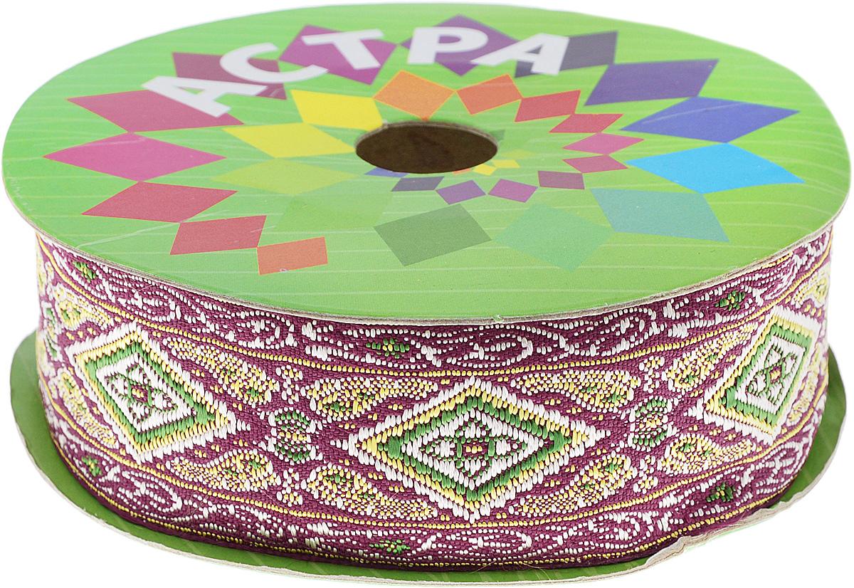 Тесьма декоративная Астра, цвет: красный (27), ширина 4 см, длина 9 м. 77034467703446_27Декоративная тесьма Астра выполнена из текстиля и оформлена оригинальным жаккардовым орнаментом. Такая тесьма идеально подойдет для оформления различных творческих работ таких, как скрапбукинг, аппликация, декор коробок и открыток и многое другое. Тесьма наивысшего качества и практична в использовании. Она станет незаменимым элементом в создании рукотворного шедевра. Ширина: 4 см. Длина: 9 м.
