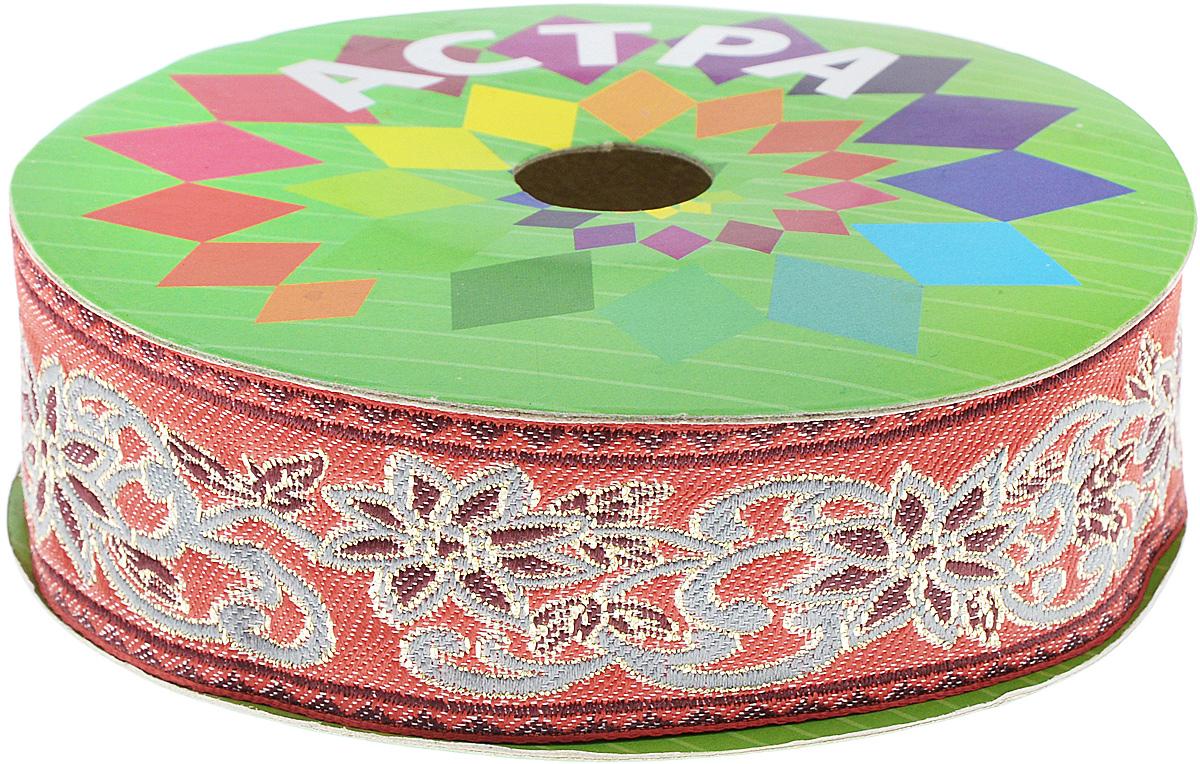 Тесьма декоративная Астра, цвет: красный, серый, ширина 3,5 см, длина 9 м7703451_25Декоративная тесьма Астра выполнена из текстиля и оформлена оригинальным жаккардовым орнаментом. Такая тесьма идеально подойдет для оформления различных творческих работ таких, как скрапбукинг, аппликация, декор коробок и открыток и многое другое. Тесьма наивысшего качества и практична в использовании. Она станет незаменимым элементом в создании рукотворного шедевра. Ширина: 6 см. Длина: 9 м.