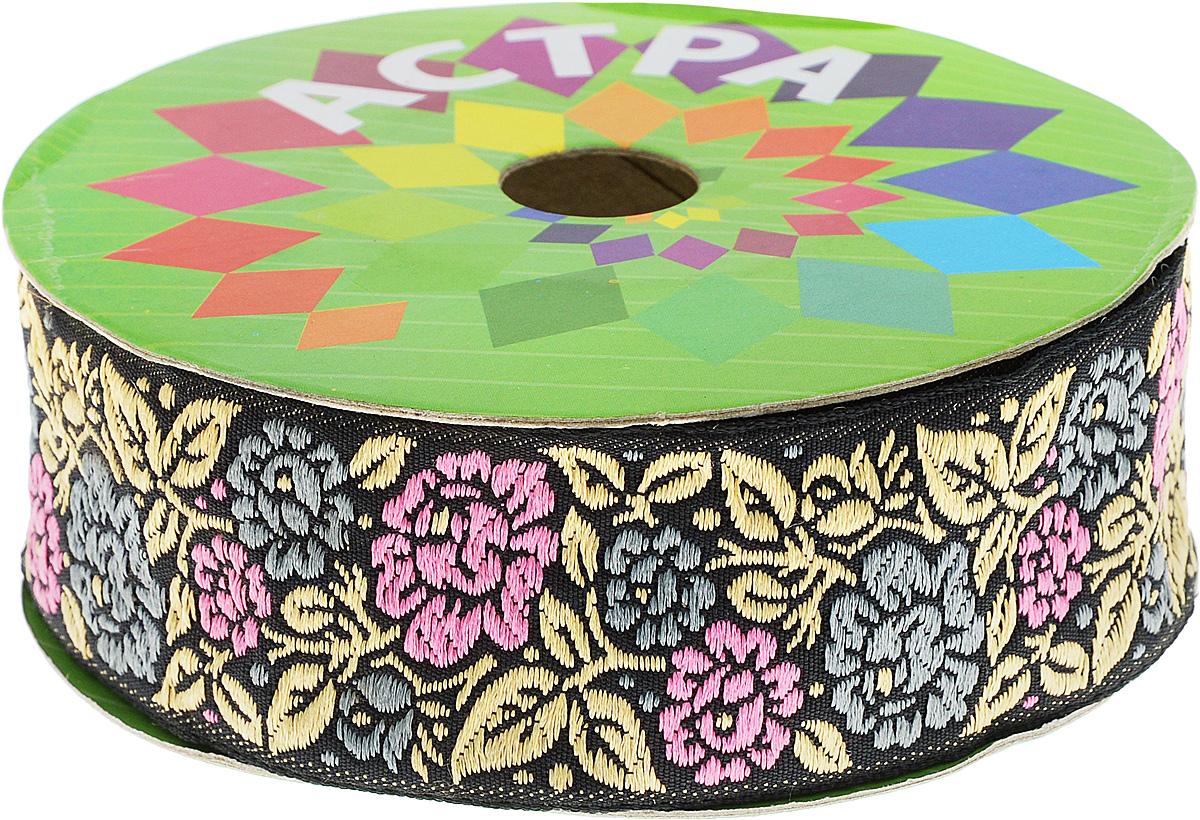 Тесьма декоративная Астра, цвет: черный, ширина 3,5 см, длина 8,2 м. 77033757703375Декоративная тесьма Астра выполнена из текстиля и оформлена оригинальным орнаментом. Такая тесьма идеально подойдет для оформления различных творческих работ таких, как скрапбукинг, аппликация, декор коробок и открыток и многое другое. Тесьма наивысшего качества и практична в использовании. Она станет незаменимым элементом в создании рукотворного шедевра. Ширина: 3,5 см. Длина: 8,2 м.
