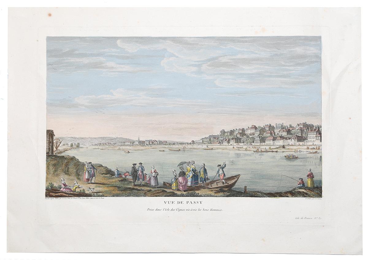Виды Парижа. Vue de Passy. Цветная гравюра (акватинта) с ручной подкраской. Франция, около 1780-х гг.