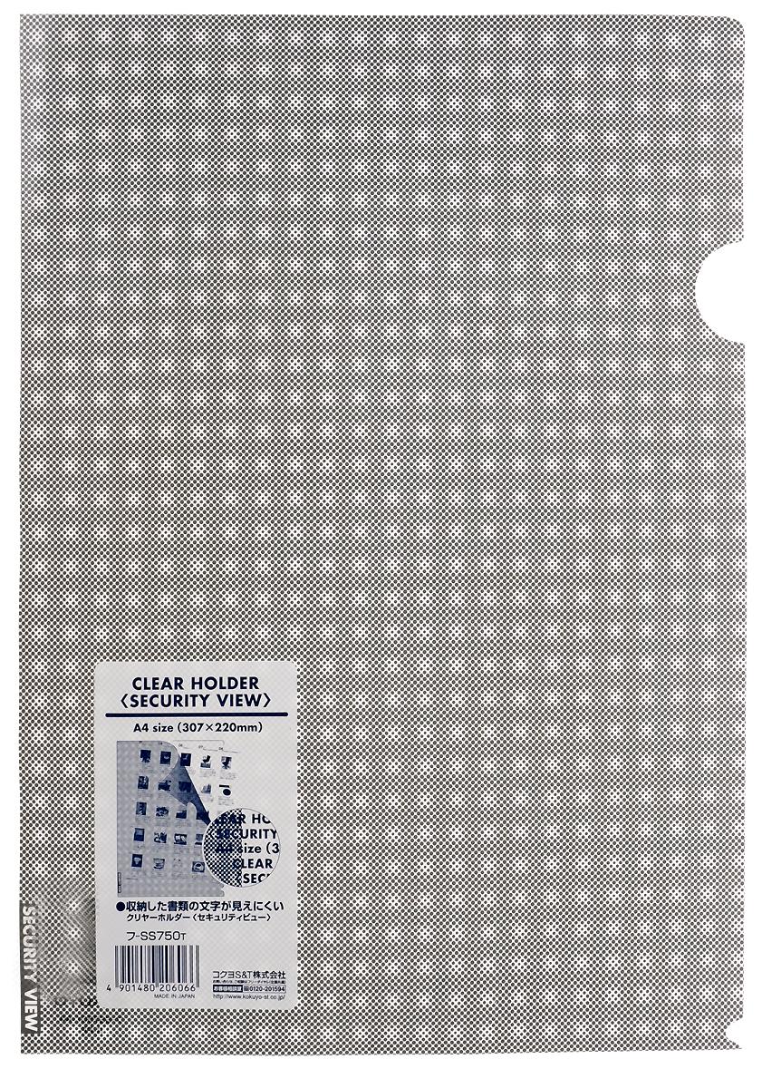 Kokuyo Папка-уголок Security цвет серый828447Папка-уголок Kokuyo Security подойдет для хранения документов и тетрадей как для офисного работника, так и для студента или школьника. По форме это обычная папка-уголок формата А4, но ее обложка декорирована специальным рисунком в клетку, который не позволит прочитать документы, которые хранятся в этой папке. Изготовлена папка из качественного пластика, и ее всегда можно будет носить с собой на выездные встречи или просто в портфеле в школу.