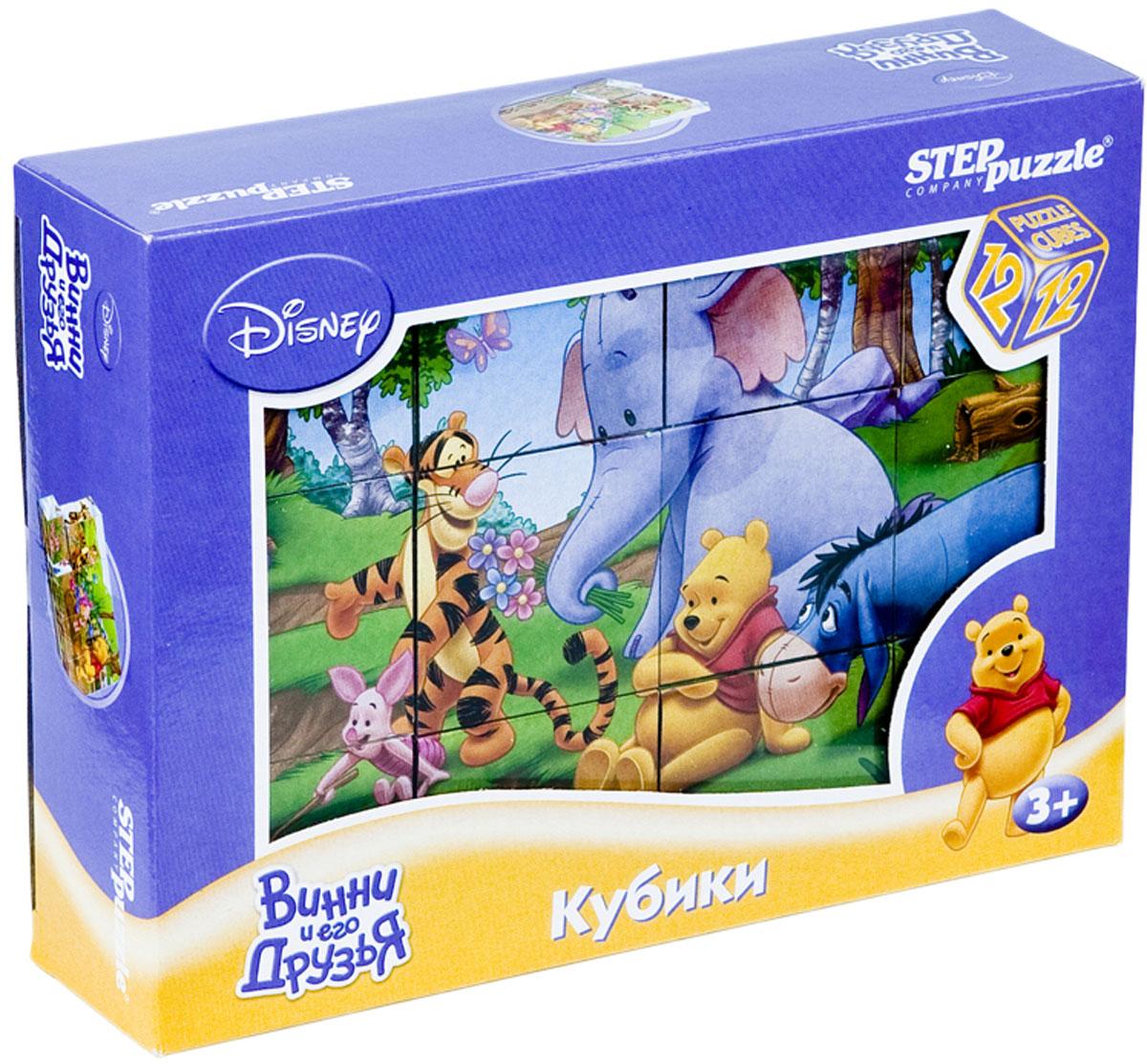 Step Puzzle Кубики Винни и его друзья87155С помощью кубиков Step Puzzle Винни и его друзья ребенок сможет собрать целых шесть красочных картинок с любимыми героями мультсериала о Винни Пухе. Наборы из 12 кубиков - для тех, кто освоил навык сборки картинки из 9 кубиков. Заложенный дидактический принцип От простого к сложному позволит ребёнку поверить свои силы. А герои популярных мультфильмов сделают кубики любимой игрушкой. Игра с кубиками развивает зрительное восприятие, наблюдательность, мелкую моторику рук и произвольные движения. Ребенок научится складывать целостный образ из частей, определять недостающие детали изображения. Это прекрасный комплект для развлечения и времяпрепровождения с пользой для малыша.