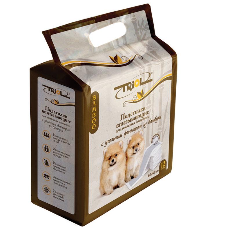 Подстилки для домашних животных Triol, впитывающие, с угольным фильтром, 60 х 60 см, 12 штDP13Подстилки впитывающие (60х60 см) для домашних животных содержат угольный абсорбент изготовленный из бамбука, который отлично впитывает жидкость, оставляя поверхность сухой, и надежно удерживает запах, имеют липкие фиксаторы, которые прочно крепятся к поверхности, что исключает заминание углов и протекания жидкости.
