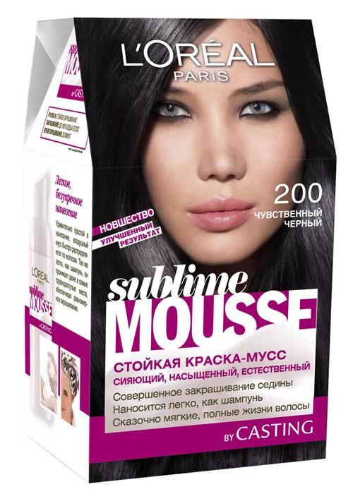 LOreal Paris Краска для волос Sublime Mousse, оттенок 200, Чувственный черный, 209 млA6310900