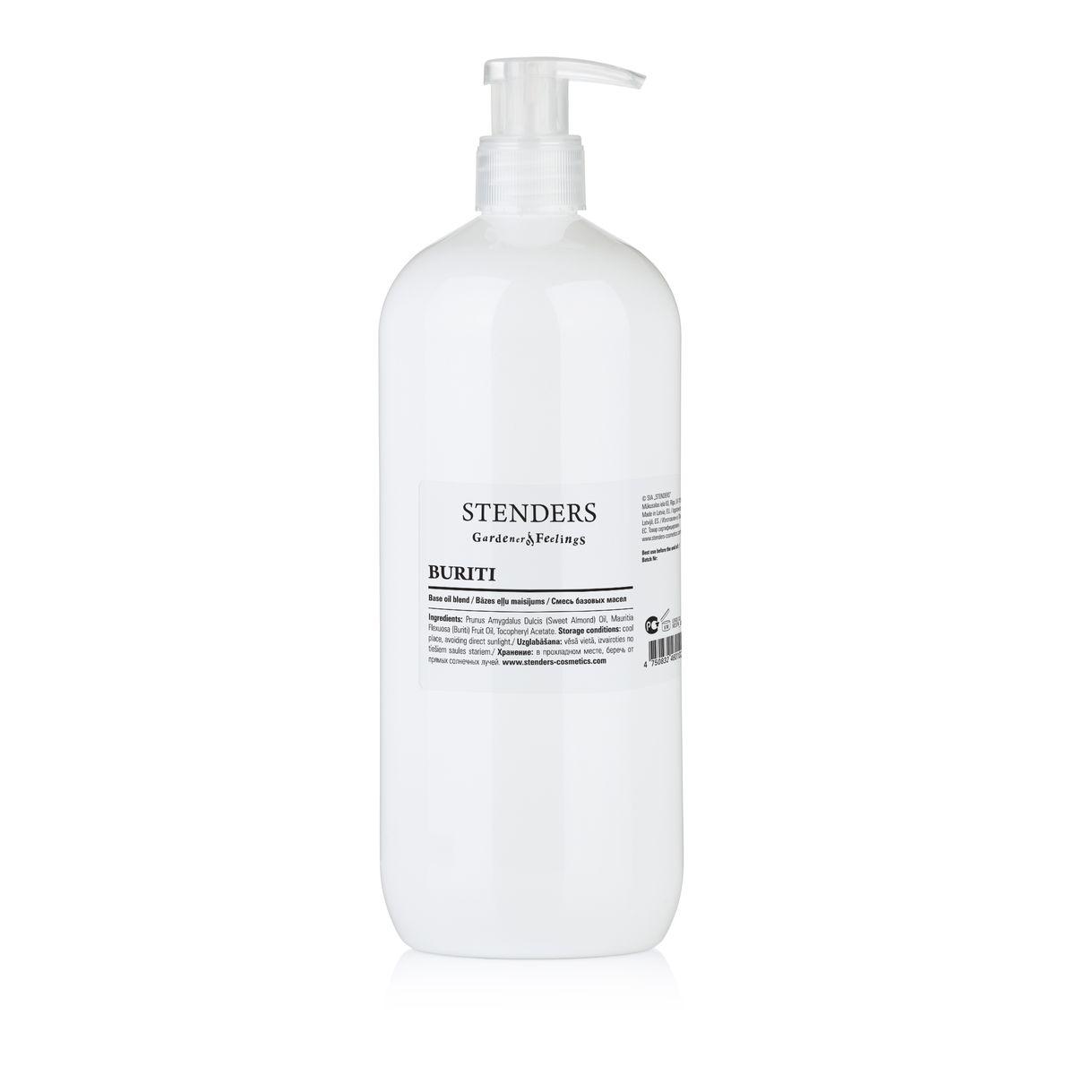 Stenders Массажное масло Бурити 1 лBESPA_06_1Смесь масла бурити и масла сладкого миндаля. Масло бурити является источником бета-каротина, который замедляет старение кожи, поскольку образует на ней натуральный защитный слой, защищающий кожу от пересушивания, вредного воздействия УФ-улей и свободных радикалов. Масло обладает сочным оранжевым цветом и придает коже тон здорового загара.